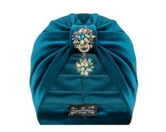 Eloise Velvet Turban in Turquoise