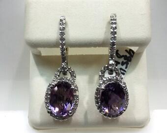 14K White Gold Dangling Diamond and Amethyst Earrings