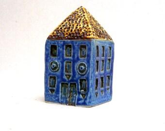 Townhouse, Blue House , Miniature House , Fine Art Ceramics