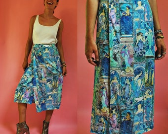 1970s Art Nouveau Alphonse Mucha Novelty Print Blue Wrap Skirt