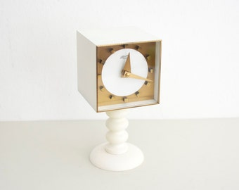 60s Atlanta desk clock, funky mantel clock, brass clock, 70s clock