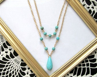 Turquoise and Gold Long Layered Double Strand Bohemian Necklace