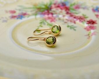 Peridot Earrings, Gem Earrings, Green Stone Earrings, August Birthstone Jewelry, Tiny Gold Earrings, Women Gift Ideas, Birthday Gift for Her