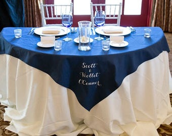 Embroidered Cotton Table Topper Overlay - Custom Personalized Embroidered - Monogrammed - Premium table linens - Wedding or Party runners