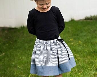 Girls twirly grey striped skirt, chambray bottom panel, tie waist, sizes 12 m to 12 years drawstring
