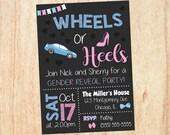 Wheels or Heels Invitation. Gender Reveal Invitation. PRINTABLE. Wheels or Heels baby shower. invite digital boy or girl