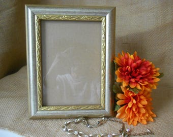 Wood  picture frame 5x7  silver and gold ornate design table top frame.