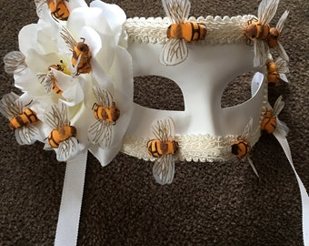 Bee Mask- Bumble Bee Mask- Masquerade Mask- Bee Costume- Masked Ball Mask-Honeybee- White Mask- Mardi Gras Mask-  Womens Mask- Mens Mask