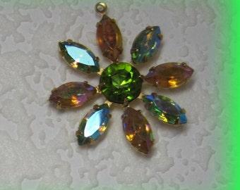 Topaz AB Olivine Peridot AB 36MM Multi 9 Stone Rhinestone Navette Chaton Brass Flower Pendant
