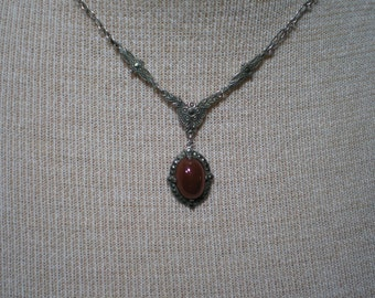 Vintage Sterling Silver Carnelian Marcasite Necklace 15 Inches