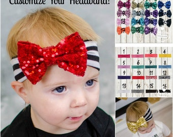 "Baby Girl Headband Cotton Thick Headband Headwrap 4"" Sequin Bow Photo Baby Prop Accessories Hair bow - Customize Choose Your Bow Colors"
