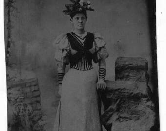 Tintype Circa 1900 Woman with Flower Hat & Fancy Dress