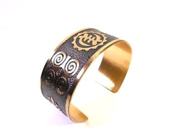 African Adinkra Brass Bracelet Cuff, Adinkra Symbols, Adinkra Cuff, Afrocentric Jewelry, Gye Nyame Jewelry, Brass Jewelry, Ready to Ship