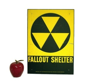 Vintage Industrial Metal Fallout Shelter Sign - Yellow - Black - Galvanized - Reflective - 1960s - Government Issue