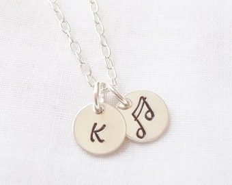 Personalized Music Note Necklace ~ Sterling Silver, Hand Stamped, Music Lover Necklace, Musician Gift, Double Bar Note ~ MADE TO ORDER