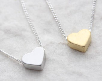Delicate Heart Necklace On Sterling silver chain . Small Heart Necklace, Heart Jewelry, Simple Necklace. Rhodium Heart or  Gold plated