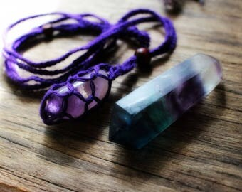 Gift Set: Crystal Macrame Pouch Necklace including Ametrine Tumble & Fluorite Crystal Wand