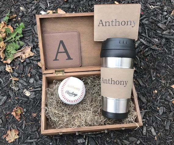 Baseball Wedding Gift Card Box : Cool Groomsmen Gift, Rustic Gift Box, Engraved Baseball, Personalized ...