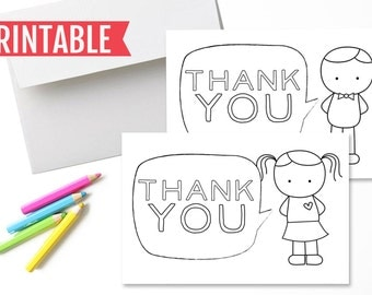Fill-in-the-Blank Printable Thank You Cards for Kids // Fill in the blank and color thank you cards for girls and boys