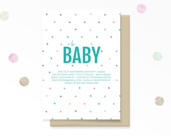 Baby Shower Invite: Oh Baby! // Triangles Modern Baby Shower Invite //  Couples Baby Shower  // Modern Baby Shower