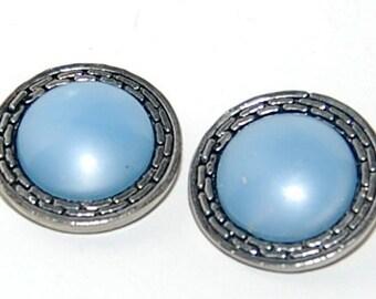 Earrings robins egg blue round embossed metal vintage clip on