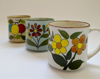 Set of Three Vintage Patterned Pottery Mugs