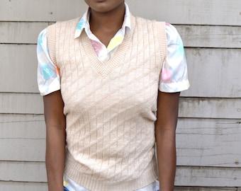 Bookworm - Teddi M sweater vest - cream vest - tan 70s knit vest - ribbed knit sweater vest - sleeveless sweater - light brown sweater vest