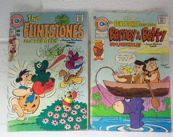 2 FLINTSTONE'S COMIC BOOKS 1970's Hanna-Barbera Television Cartoons Barney & Betty Rubble Pebbles Flintstone Fred Wilma Charlton Comics