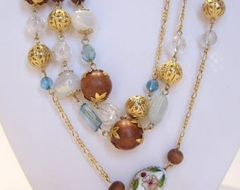 Cloisonne, Filigree and Wood Bead Necklace Long