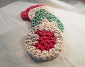 Cotton Face Scrubbies, Handmade, Eco Friendly Makeup Remover FaceCloth Set of 4, Holiday Stripes