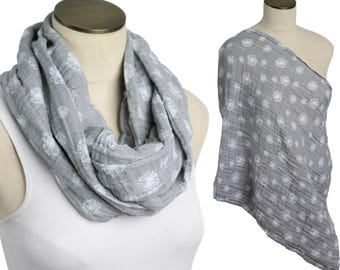 SALE! Gray Dandelion Flower 100% Cotton Muslin Gauze Hold Me Close Nursing Scarf, Nursing Cover, Infinity Scarf, Nursing Poncho