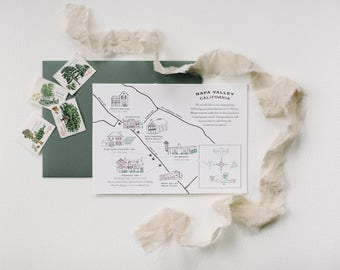 Destination Save the Date, map hand drawn custom wedding location buildings roads landmarks personalized doodle draw vineyard
