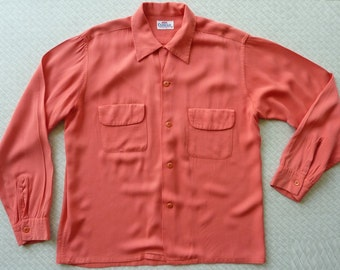 1940 39 s mens shirt etsy for Coral shirts for guys