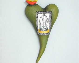 """Heart, ceramic wall art, Jacquline Hurlbert, one of a kind, unique, title: """"The Heart Can Not Be Caged"""""""