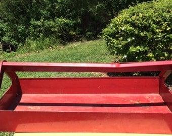 Vintage Red Metal Tool Tote,  Rustic Garden Planter, Red Metal Tray, Vintage Tool Storage Caddy
