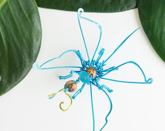 butterfly sculpture · kids room decor · butterfly art · wire sculpture · decorative sculpture · insect sculpture · wire art · blue decor