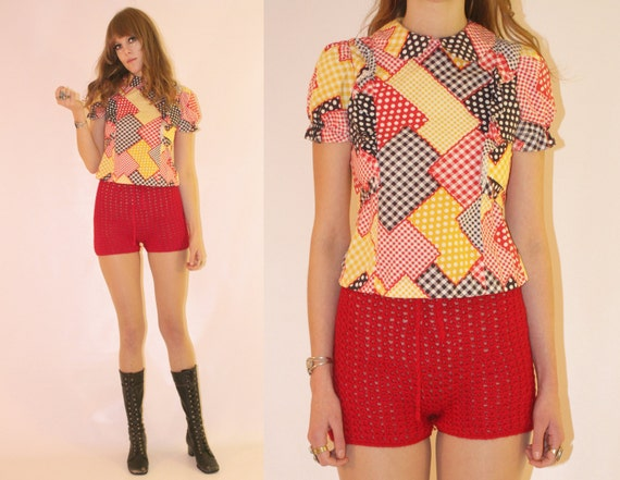 Vtg 60s Patchwork Round Collar Folk Ruffle Top