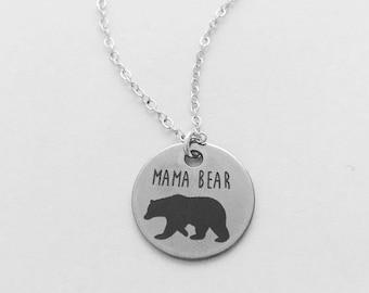 Mama Bear Silver Charm Necklace