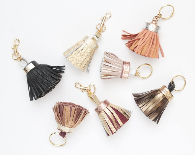 Natural leather key charm-black gold bronze metallic-genuine leather tassel-metal key fobs -bag charms - Choose your color - Ready to Ship