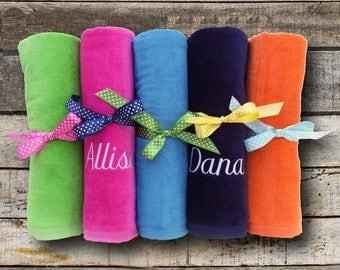 Monogrammed Beach Towel Personalized Bridesmaid Gift Monogram Pool Swimming Cotton