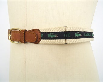 Vintage Lacoste Logo Pattern Belt / men's preppy leather and cotton cord fabric belt with navy blue & green alligator stripe pattern