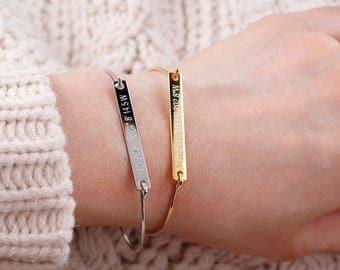 gold bar bracelet, Personalized Bar Bracelet,Bridesmaid gift, name bar Bracelet, graduation gift, Coordinates,Roman numerals, Bar Bangle