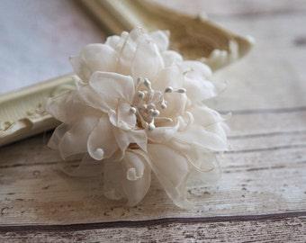 Boho Hair Accessory, Wedding Fabric Flower, Silk Hair Clip, Ivory Flower Hair Clip, Shabby Chic Hair Flower, Ivory Wedding Hair Clip