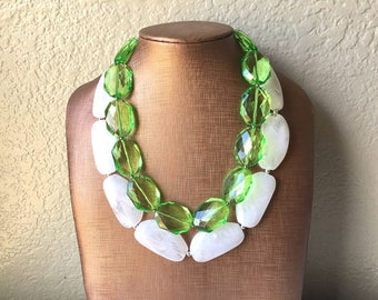 Green & White Necklace, multi strand jewelry, big beaded chunky statement necklace, green necklace, bridesmaid necklace, bib necklace, green