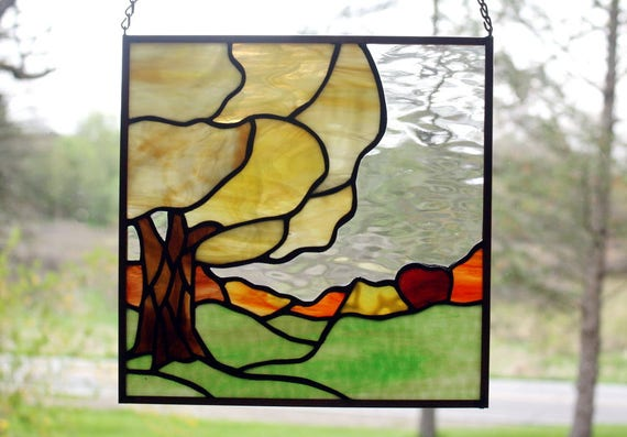 Fall Tree Landscape Stained Glass Panel 2