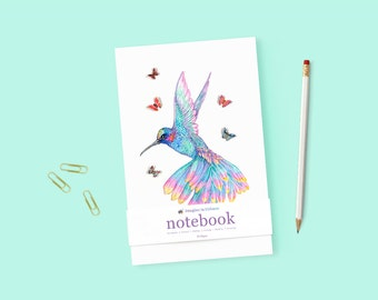 Hummingbird Illustrated Notebook Blank Notebook Handcrafted Journal Personal Diary Dream Journal Christmas Gift Gratitude Journal Travel