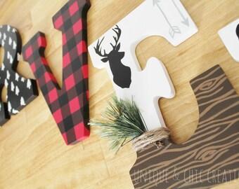Lumberjack Moose Bear Deer Plaid Woodland Forest Whimsical Wooden Nursery Letters
