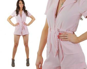 Pink romper Jumpsuit Pastel Gauze Deep V Plunging zip up mini playsuit Medium