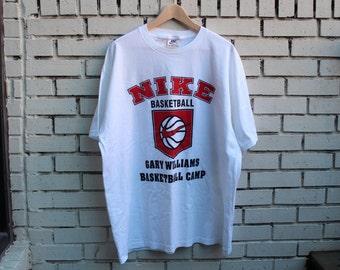 Vintage NIKE Gary Williams Basketball Camp Shirt University of Maryland Terrapins Coach Vtg Collegiate