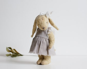 Made To Order Handmade Yellow Bunny Stuffed Animal Gray Cotton Dress Rabbit Plush Toy 8 Inches Gift For Her FREE Shipping